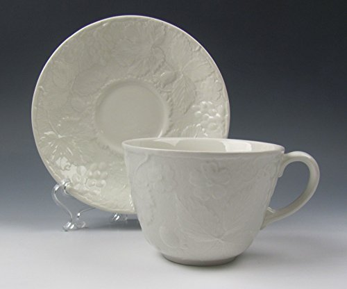 Burgess & Leigh China STRAWBERRY AND GRAPE LEAF WHITE Cup and Saucer Set(s) EX