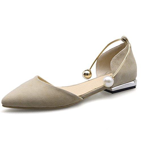 Nio Sju Mocka Läder Womens Spetsig Tå Låg Klack Stil Handgjorda Dorsay Balett Lägenheter Aprikos