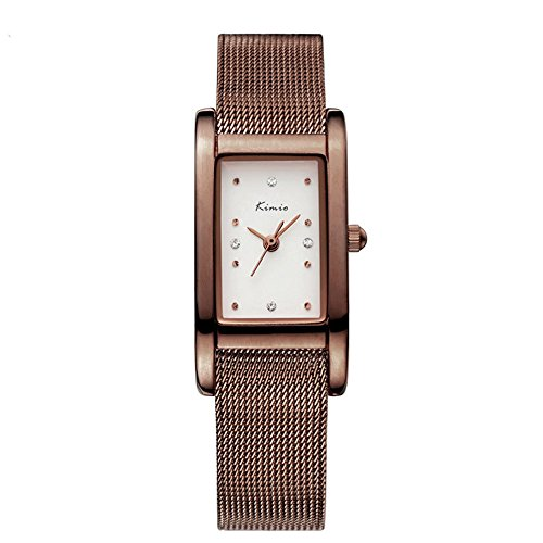 Fashion Casual Rhinestone Square Dial Mesh Shaped Stainless Steel Band Women Quartz Watch, Brown (Relic Steel Mesh Watch)