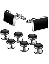 Jewelry Stainless Steel Classic Tuxedo Shirt Cufflinks for Men Unique Business Wedding White (Black 4 Sets)
