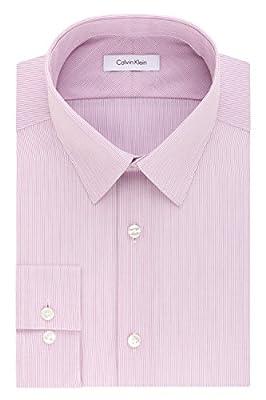Calvin Klein Men's Non Iron Slim Fit Fineline Stripe Point Collar Dress Shirt