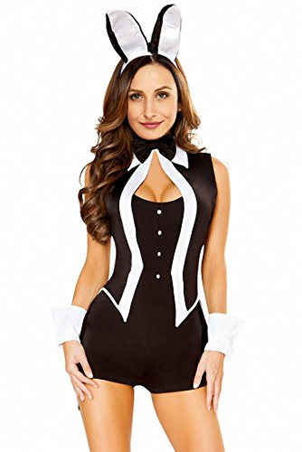 Women Adult Party Tuxedo Bunny Rabbit Playboy Christmas Costume Fancy Jumpsuit Rompers Tunic Dress (Bunny Halloween Costume Ideas)
