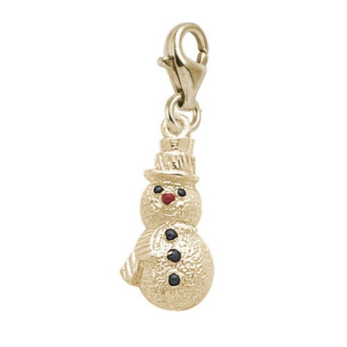 Rembrandt Charms Snowman Charm with Lobster Clasp, 14k Yellow Gold (Snowman Gold Yellow 14k)