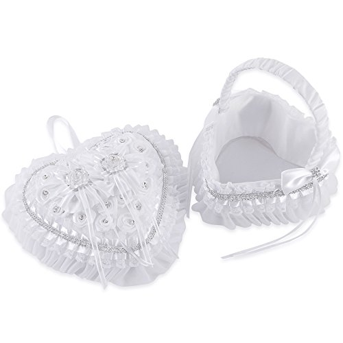 LONGBLE 2Pcs Set Satin Wedding Flower Girl Basket + Heart Shape Ring Bearer Pillow Rings Holder Box with Rose Rhinestones and Flowers Decor Set Ivory Wedding Ceremony - Holder Basket Favors