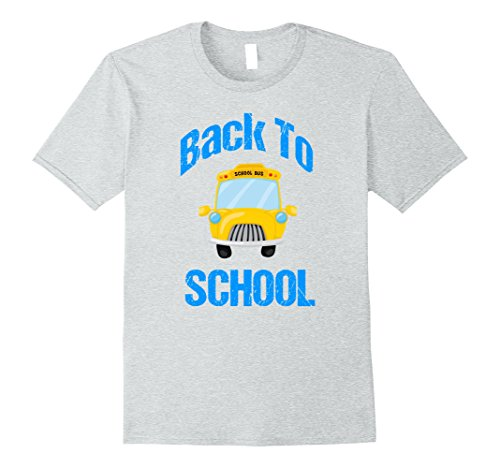 Mens Cute Back to School T Shirt | School Bus Cartoon 2XL Heather Grey