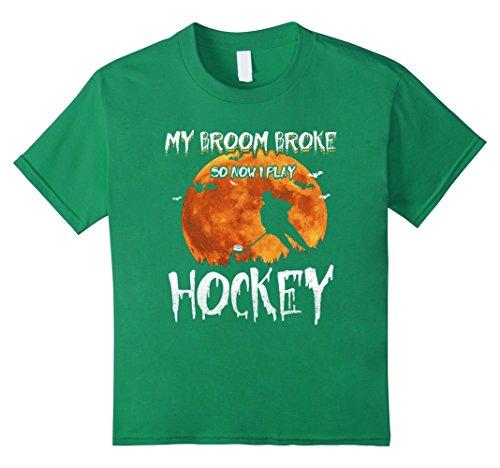 Kids My Broom Broke So Now I Play Hockey T-Shirt 6 Kelly Green