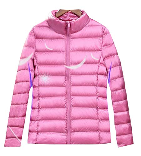 EKU Puffer Pink Jacket Womens Coat Down Outwear Packable Lightweight Wa6T7