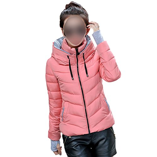 Down Outwear Lightweight Jackets Collar Women Packable Coats Meijunter Casual Pink Stand Puffer qAwUxvYv