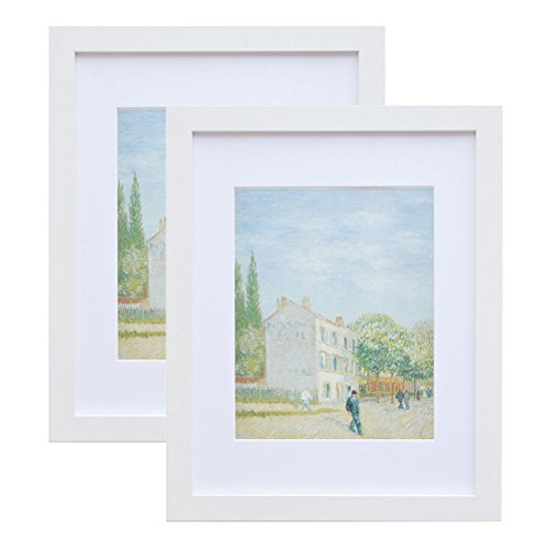 - 11x14 Wood Picture Frame - Flat Profile - 2 pcs - for Picture 8x10 with Mat or 11x14 without Mat (white)