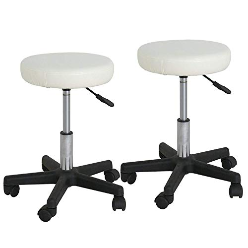 F2C Pack of 2 PCS Leather Adjustable Bar Stools Swivel Chairs Facial Massage Spa Salon Stool with Wheels White