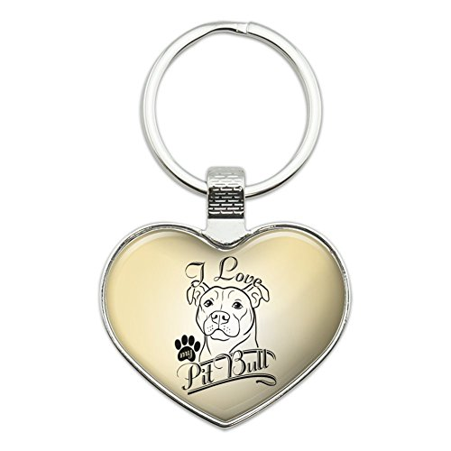 I Love My Pit Bull Heart Love Metal Keychain Key Chain Ring ()