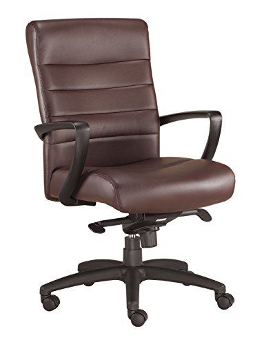 Manchester Leather Office Chair - Eurotech Seating Manchester LE255-BRNL Mid Back Leather Chair, Brown