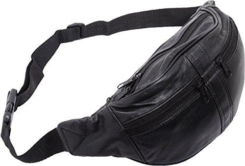 Bauchtasche/Hüfttasche Echt-Leder (schwarz)