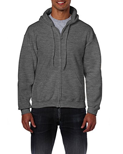 - Gildan Heavy Blend Unisex Adult Full Zip Hooded Sweatshirt Top (M) (Dark Heather)