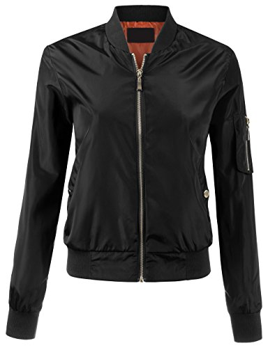BEKTOME Womens Lightweight Classic Military Inspired Zip Up Bomber Jacket-S-Black