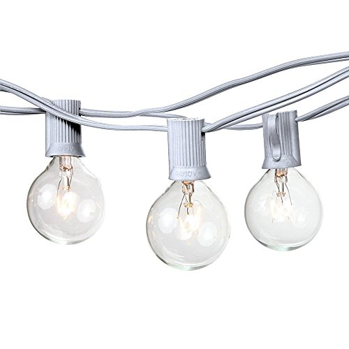 25 Foot G40 Globe String Lights With Bulbs – White Wire – By Austin Light Co. - UL Listed. Indoor and Outdoor. Commercial Grade. Great for patios, cafés, parties, homes, weddings, backyards (Halloween Beer Commercial)