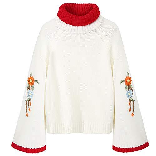 Femminile Le Autunno Ricamato M Xl Allentato Collo Camicia Donne Oppp Dolcevita Pullover Maglione Alto zq86ZAwd