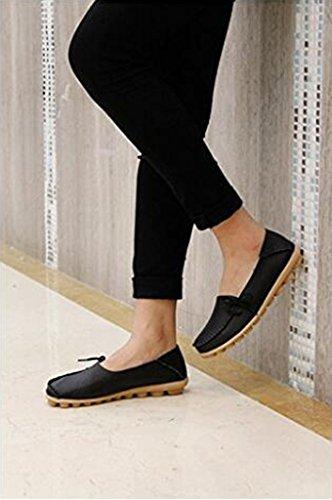 04fa2d6bdda5d ... Chaussures De Conduite Pour Femmes Cuir De Vachette Mocassins À Lacets  Occasionnels Chaussures Bateau Noir ...
