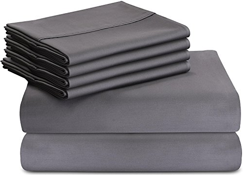 6-Piece Bed Sheet Set (King, Grey) With 4 Pil...