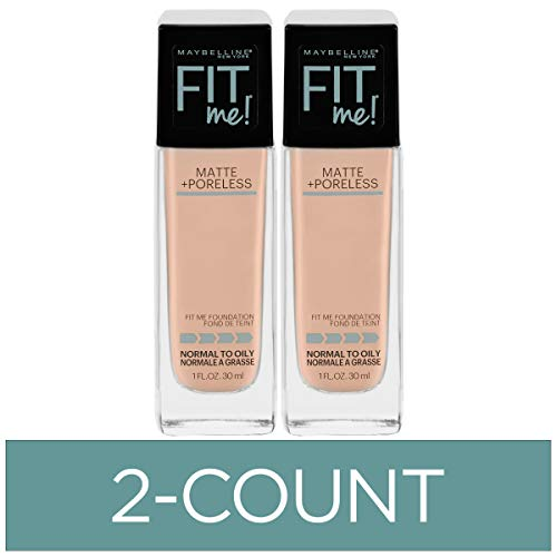Maybelline Fit Me Matte + Poreless Liquid Foundation Makeup, Ivory, 2 COUNT Oil-Free Foundation
