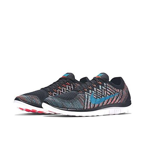 Nike Free 4.0 Flyknit Zapatillas de running, Hombre Negro / Naranja / Azul oscuro / Blanco (Black / Hyper Orange-Copa-Bl Lgn)