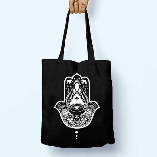 Hamsa Hand Yoga Illustrated Shoulder Tote Long Handles Graphic Cute