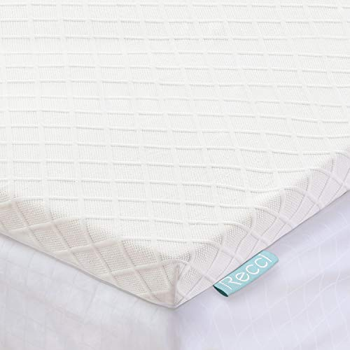 RECCI 3-Inch Memory Foam Mattress Topper Queen, Pressure-Relieving Bed Topper, Memory Foam Mattress Pad with Bamboo Viscose Cover – Removable Washable,CertiPUR-US Queen Size