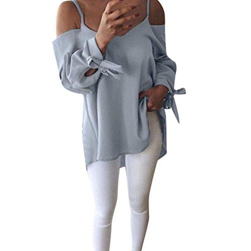 spalla QinMM camicetta Tank grigio top manica donna sciolto spalla solido T sexy Camicia casual fredda di Shirt off tunica lunga camicia UrgUq0