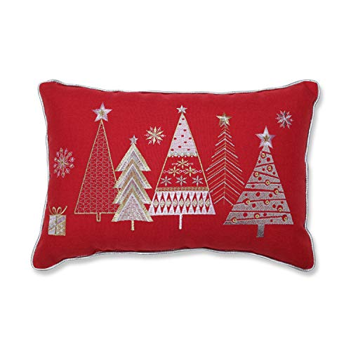 Pillow Perfect Christmas Star Topped Trees Embroidered with Silver Welt Cord Lumbar Decorative Pillow, 12