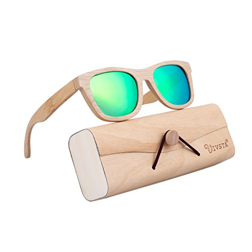 Bamboo Wood Sunglasses for Men Women, IVSTA Polarized Wooden Vintage Wayfarer Sunglasses (Newest Sunglasses)