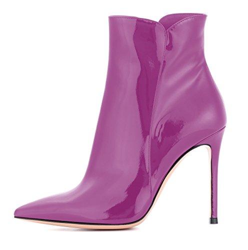 Talons Zippées High Bottes Violet À Fourrure Edefs Bottines Chaussures Heels Hiver Femme 1awqnwE7gx