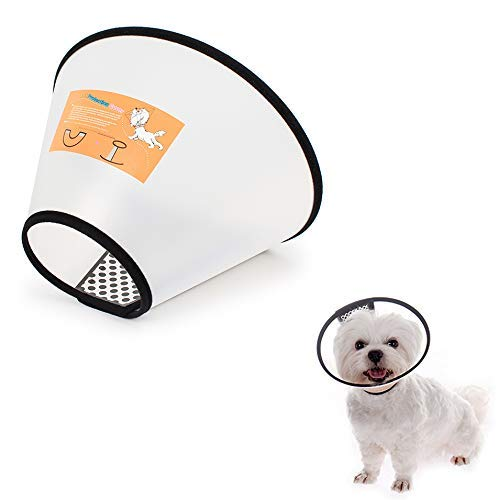 LEMON PET Anti-Bite Lick Pet Dog Cat Cone Wound Protective Collar Adjustable Neck Comfy Plastic Soft Clear, 8 Sizes to Select (S)