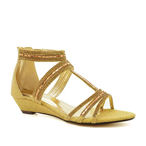 London Footwear ,  Damen Knöchel-Riemchen Gold