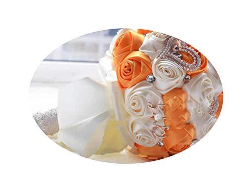 (Artificial-Flowersstunning Wedding Flowers White Bridesmaid Bridal Bouquets Artificial Rose Wedding Bouquet,Cream and Orange)