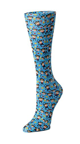 Cutieful Women's Nylon 8-15 Mmhg Compression Sock Blue Monkeys