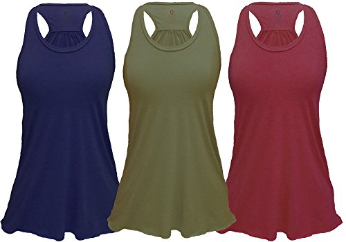 (Epic MMA Gear Flowy Racerback Tank Top, Regular and Plus Sizes Pack of 3 (L, Army/Navy/Burgundy))