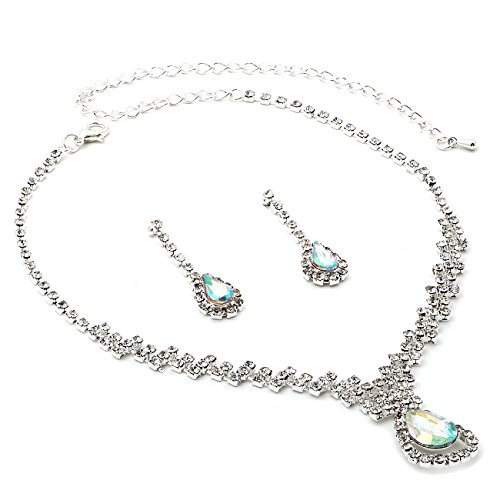 Silver Crystal Rhinestone with Large Aurora Borealis Teardrop Center Necklace and Matching Dangle Earrings Jewelry Set