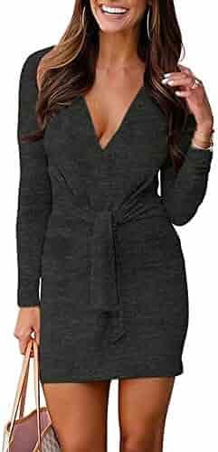 VANCOL Women/'s Deep V Neck Long Sleeve Tie Front Knit Mini Bodycon Club Dress Plain Party Dress