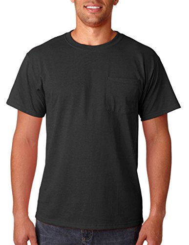 Jerzees 5.6 oz., 50/50 Heavyweight Blend Pocket T-Shirt, Large, BLACK (Classy Outfits For Men)