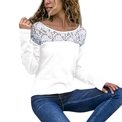 - WOCACHI Blouses for Womens, Fashion Women Casual Lace Patchwork O-Neck Long Sleeve T-Shirt Blouse Tops Trendy Tee Halter Backless Hollowout Long Sleeve Sleeveless Strap Strapless Bottoming White