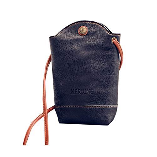 Messenger Bag,Han Shi Fashion Women Leather Crossbody Shoulder Bags Single Handbag (Black, L)