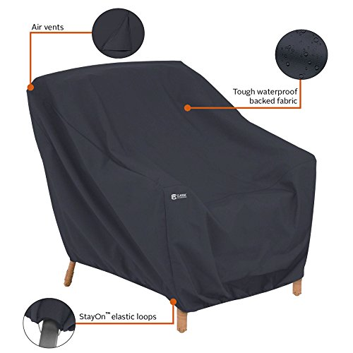 Classic Accessories 55-815-040401-00 Patio Lounge Chair Cover, Black, Large by Classic Accessories (Image #3)