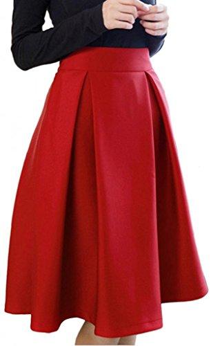 Eyekepper Mujeres Vintage Alta Cintura La Falda Rojo
