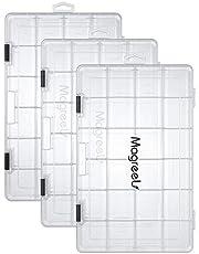 Magreel Fiskeutrustning låda 3-pack genomskinlig plastlåda förvaring organisering låda med justerbara avdelare för smycken pärlor örhänge behållare verktyg fiskekrok små tillbehör 24 rutnät