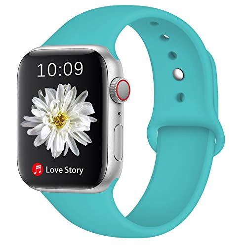 DGege Compatible with Apple Watch Band 40mm 38mm, for Women Men, Silicone Sport Replacement Band Compatible with Apple Watch Series 4/3/2/1, Small/Medium, Teal