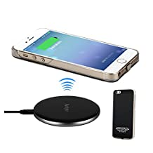 Antye Qi Wireless Charger for iPhone SE, iPhone 5S, iPhone 5 - Including Aluminum Wireless Charging Pad and Wireless Charging Receiver Case (Black/Silver)