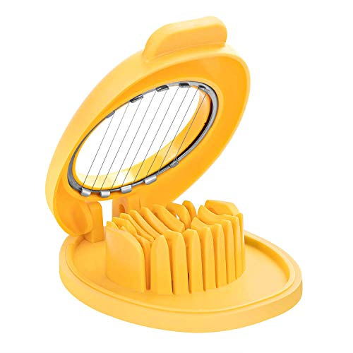 Egg Slicer with Stainless Steel Wire, Dishwasher safe, Yellow