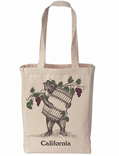 California Bear with Wine Barrel Souvenir Tote Bag - from the California Wine Region -