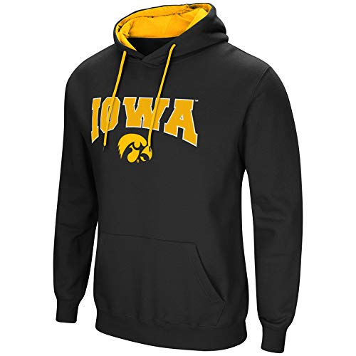 Ncaa Hooded Sweatshirt - Colosseum NCAA Men's-Cold Streak-Hoody Pullover Sweatshirt with Tackle Twill-Iowa Hawkeyes-Black-XXL