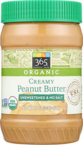 Low Sugar Peanut Butter - 365 Everyday Value, Organic Creamy Peanut Butter Unsweeteend & No Salt, 16 Ounce